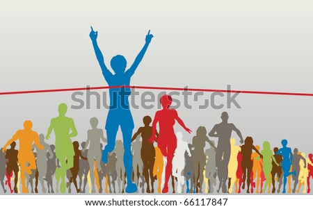Editable vector illustration of a woman winning a colorful race - stock vector