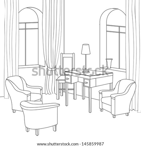 Editable vector illustration of an outline sketch of a interior. Graphical hand drawing interior. Cabinet. - stock vector