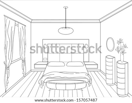 Pencil sketch of a room stock photos images pictures for Drawing room bed design