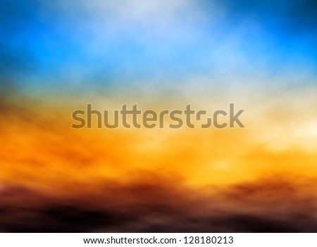 Editable vector illustration of bank of clouds in a sunset sky made with a gradient mesh - stock vector