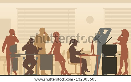 Editable vector illustration of business people in an office all talking on cellphones - stock vector