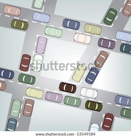 Editable vector illustration of busy car traffic - stock vector