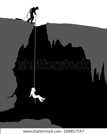 Editable vector illustration of cavers exploring a cave - stock vector