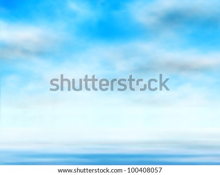 Editable vector illustration of clouds in a blue sky over water made using a gradient mesh - stock vector