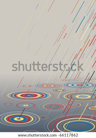 Editable vector illustration of colorful rain falling into water - stock vector