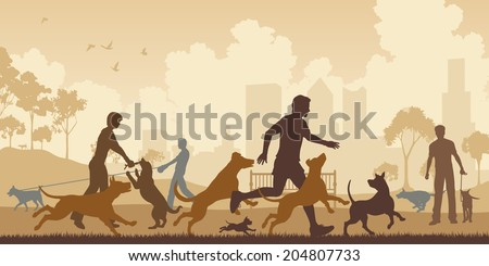 Editable vector illustration of dogs and their owners in a park with all elements as separate objects - stock vector
