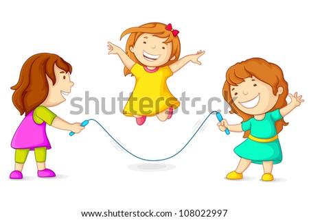 Editable vector illustration of girls skipping - stock vector