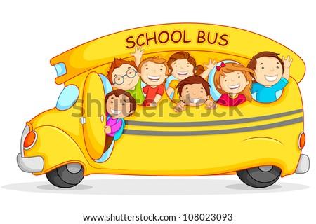 Editable vector illustration of happy children on school bus - stock vector
