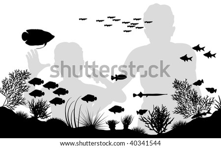 Editable vector illustration of mother and son looking at fish in an aquarium - stock vector