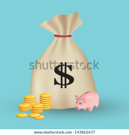 Editable vector illustration of piggy bank with golden coins and bag of money - stock vector