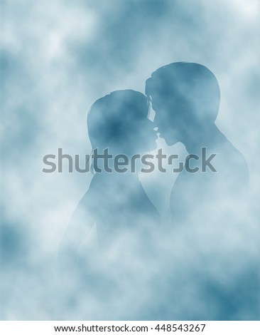 Editable vector illustration of two lovers surrounded by steam or mist made using gradient meshes - stock vector