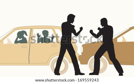 Editable vector illustration of two men fighting after a minor road accident - stock vector