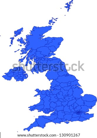 Editable vector map of Great Britain with provinces as EPS10 file with each provinces as selectable path with province name. - stock vector