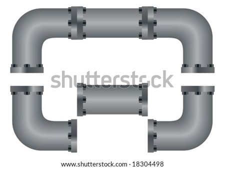 Editable vector pipes to connect anyway you like - stock vector