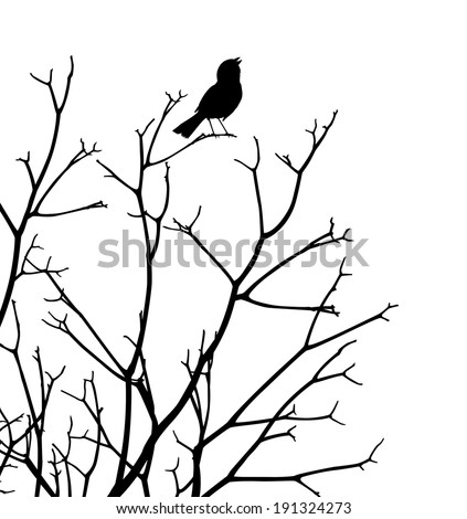 Editable vector silhouette of a bird singing at the top of a bare tree - stock vector