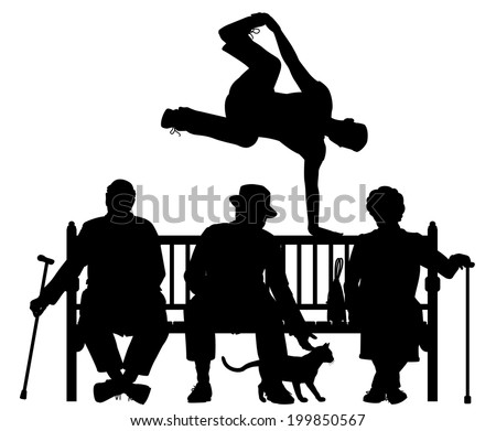Editable vector silhouette of a young man vaulting over three elderly people on a park bench with all elements as separate objects - stock vector