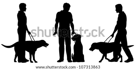 Editable vector silhouettes of a blind man and his guide dog with each man and dog as a separate object - stock vector