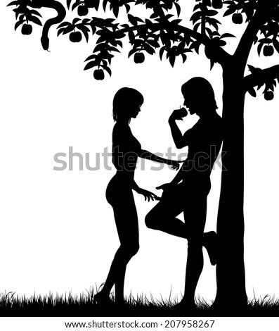 Editable vector silhouettes of Adam and Eve and an apple tree with all figures as separate objects - stock vector