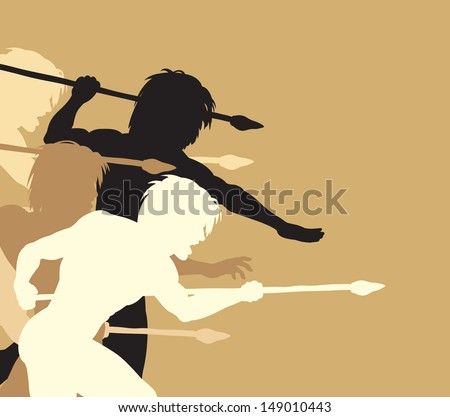 Editable vector silhouettes of cavemen holding spears threateningly - stock vector