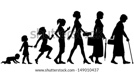 Editable vector silhouettes of different stages of a woman's life - stock vector