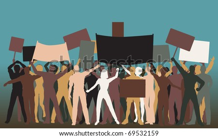 Editable vector silhouettes of protesters and banners - stock vector