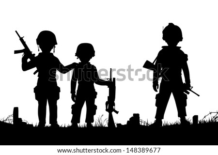 Editable vector silhouettes of three children dressed as soldiers with figures as separate objects - stock vector