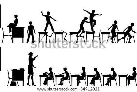 Editable vector silhouettes of two classroom scenes with all elements as separate objects - stock vector