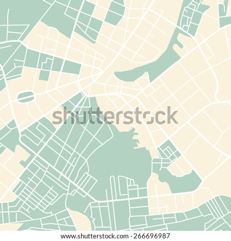 Editable vector street map of town. Vector illustration. - stock vector