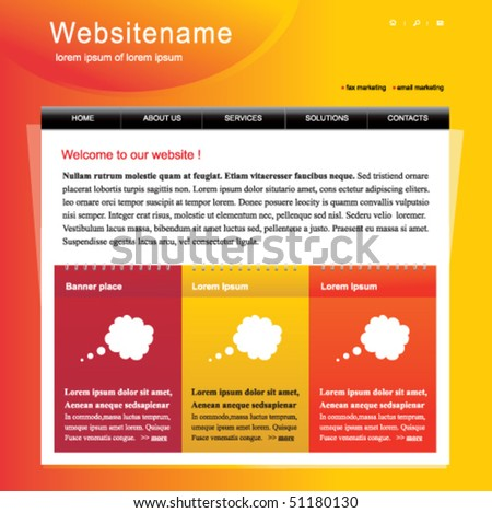 Editable web site template - stock vector