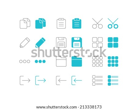 Editing and formatting set. Trendy thin icons for web and mobile. Line and full versions. Normal and enable state - stock vector