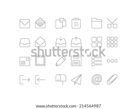 Editing and mailing icons set in line style - stock vector