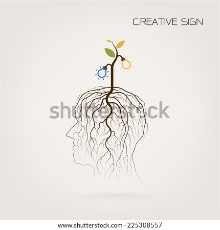 Education and business concept. Tree of Knowledge  shoot grow on human head symbol. Green industrial idea. Vector illustration - stock vector