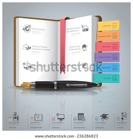 Education And Graduation Infographic With Book Icon Diagram Design Template - stock vector