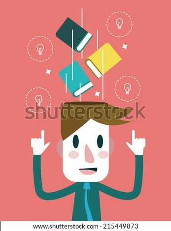 Education and inspiration concept. flat design. vector illustration - stock vector