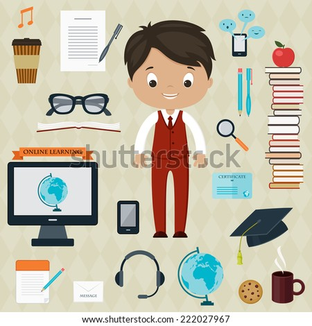 Education and learning concept. Boy with icons for education, online education, online learning - stock vector