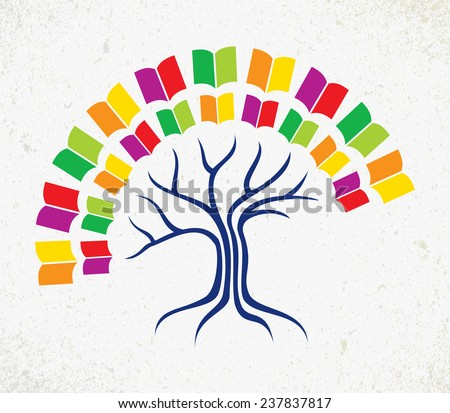 Education and learning concept with colorful abstract tree book. EPS10 vector file organized in layers for easy editing. - stock vector