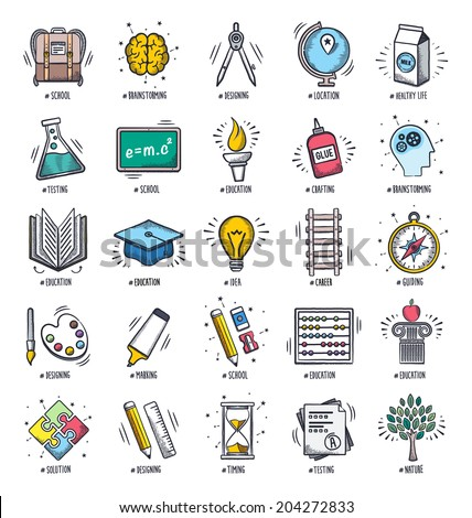 Education and learning icon set. Vector doodle illustrations. - stock vector