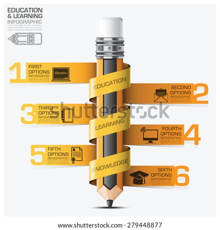 Education And Learning Infographic With Spiral Tag Pencil Step Diagram Vector Design Template - stock vector