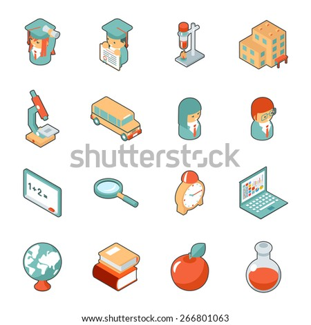 Education and school isometric 3d icons. Science and university, college and graduation. Vector illustration - stock vector