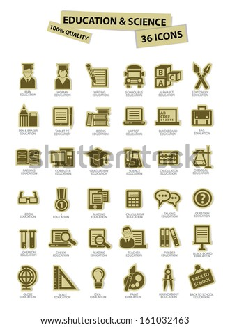 Education and science icons,paper version,Onwhite background,vector - stock vector