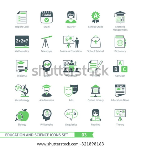 Education And Science Icons Set 03 - stock vector