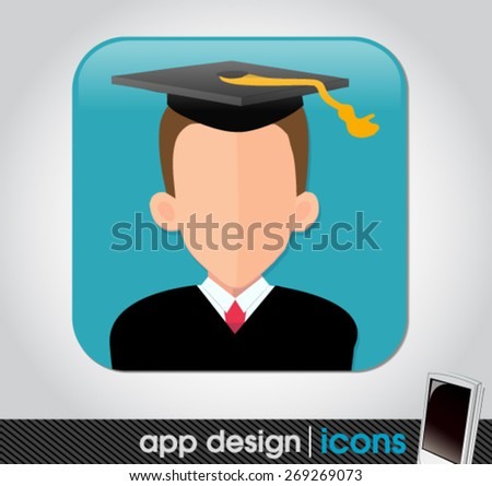 education app icon for mobile devices  - stock vector