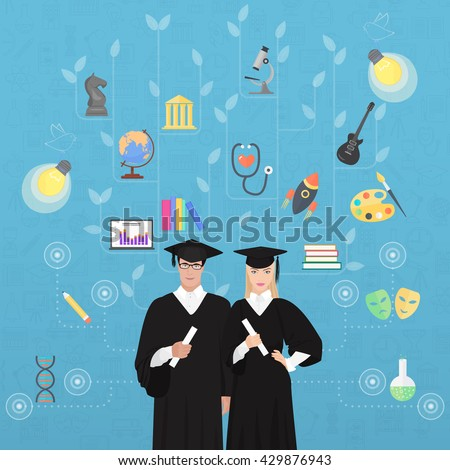 Education bachelor magister knowledge tree concept. Tree of talents, knowledge and skills. - stock vector