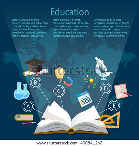 Education background infographics open book of knowledge on world map  - stock vector