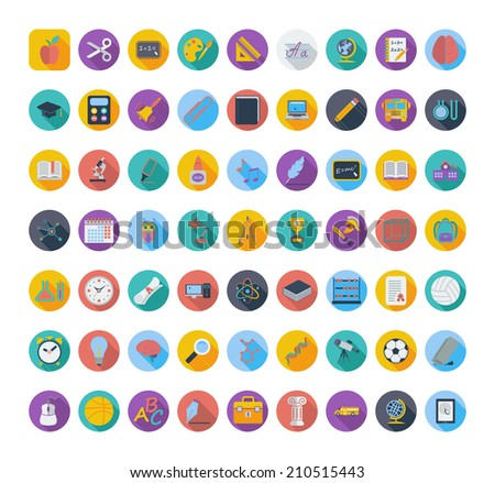 Education color flat icons. Vector illustration.  - stock vector