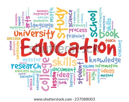 EDUCATION. Colorful sketch word business collage, vector background - stock vector