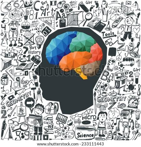 Education concept - brain & doodle set - stock vector