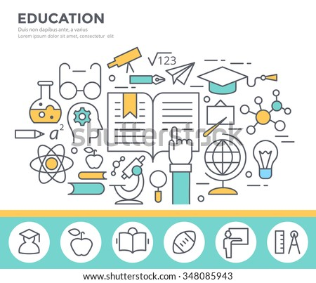 Education concept illustration, flat design, thin line style - stock vector