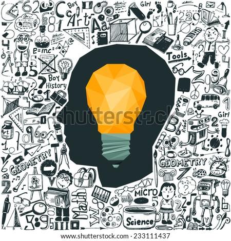Education concept - light bulb & doodle set - stock vector