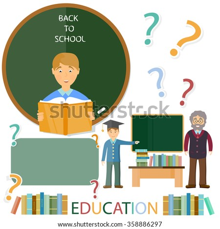 Education concept. Schoolboy and teacher. Questions and answers - stock vector